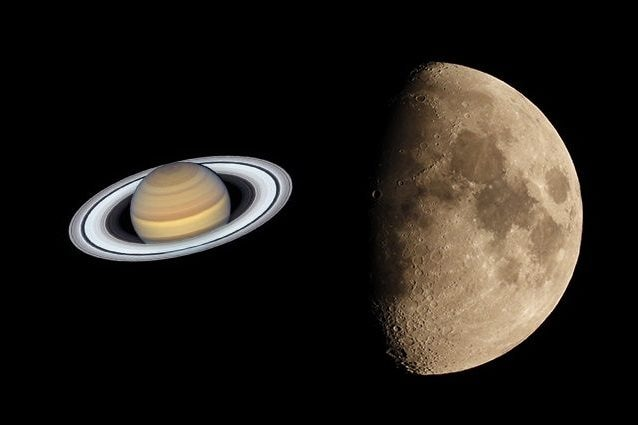 Credit: Saturno/Hubble/NASA/ESA – Luna/Andrea Centini