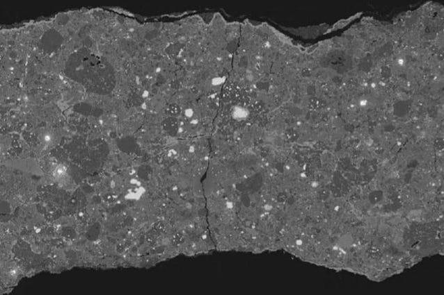 Sezione del meteorite Acfer 094: Credit: Epifanio Vaccaro et Al/Museo di Storia Naturale di Londra