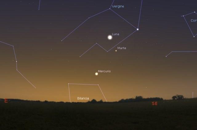 Mercurio, la Luna e Marte nel cielo sudorientale. Credit: Stellarium