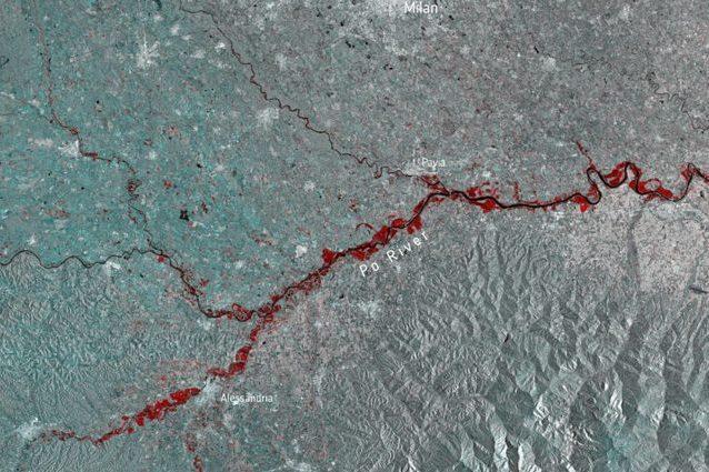 Le indondazioni causate dalla piena Po nel Nord Italia Credit: Copernicus/ESA