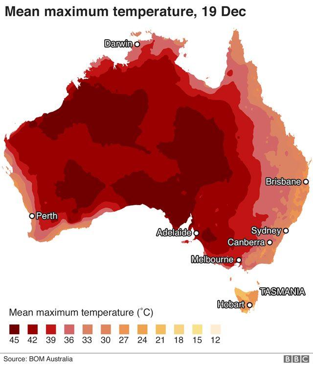 Le temperature infernali in Australia. Credit: Bom
