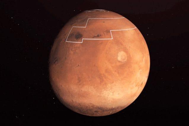 La regione di Marte con ghiaccio appena sotto la superficie. Credit: NASA