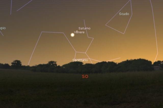 Congiunzione astrale Venere – Saturno. Credit: Stellarium
