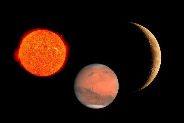 Una stella rossa, Marte e la Luna. Credit: NASA (Marte/stella) – Andrea Centini (Luna)