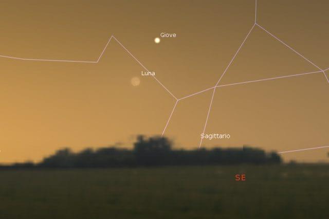 Simulazione della congiunzione astrale tra Luna e Giove. Credit: Stellarium