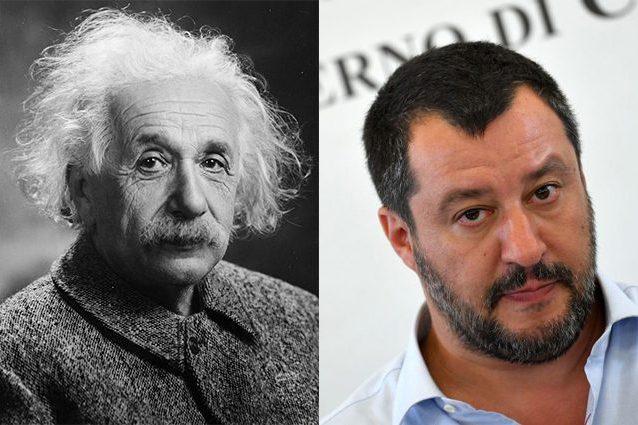 A sinistra, Albert Einstein. A destra, Matteo Salvini
