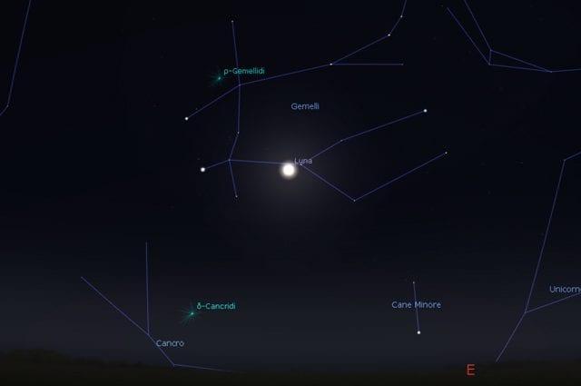 La posizione della Luna all'inizio dell'eclissi. Credit: Stellarium