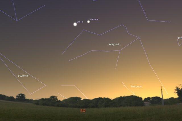 La simulazione della congiunzione astrale tra la Luna e Venere del 28 gennaio. Credit: Stellarium