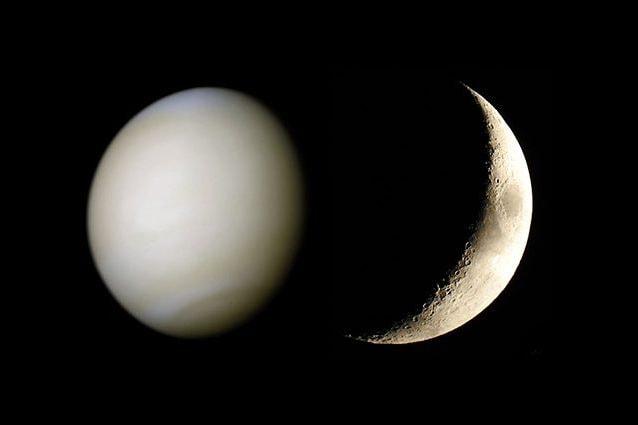 La Luna e Venere. Credit: Luna/Andrea Centini – Venere/NASA