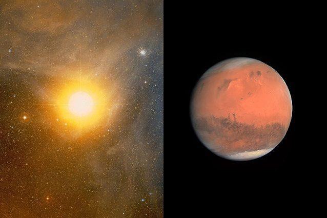 A sinistra Antares, a destra Marte. Credit: Palomar Observatory e NASA