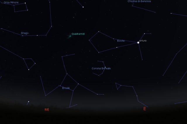 Dove cercare le Quadrantidi nel cielo. Credit: Stellarium