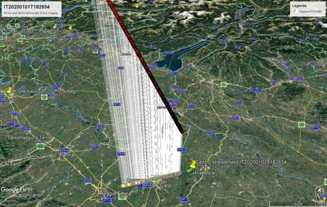 La traiettoria del Bolide. Credit: Google/PRISMA