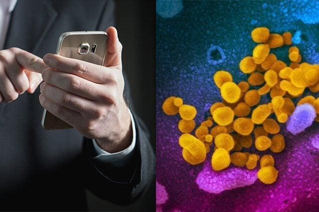 Credit: Coronavirus – Rocky Mountains Laboratories (RML) / The National Institute of Allergy and Infectious Diseases (NIAID)/ Smartphone – Tero Vesalainen