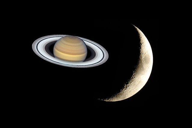 Saturno e la Luna. Credit: Saturno/NASA – Luna/Andrea Centini