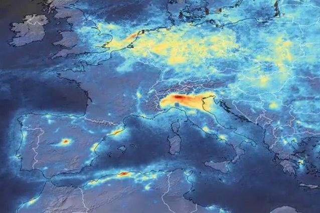 Calo dell'inquinamento in Europa per la diffusione del coronavirus. Credit: ESA