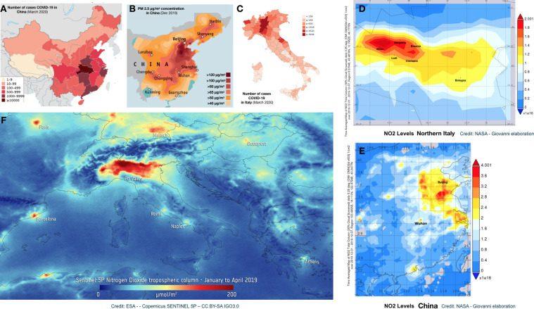 Figura A e B: scoppio dell'epidemia di Covid–19 in Cina rispetto alla concentrazione di particolato (PM 2.5). Figura C: distribuzione italiana di casi COVID–19. Figure D e E: livelli di NO2 (mese di dicembre) in Cina e Nord Italia / Fonte: NASA Giovanni. Figura F: mappa dell'inquinamento di biossido di azoto dal satellite Copernicus SENTINEL 5P (da gennaio ad aprile 2019) / ESA.