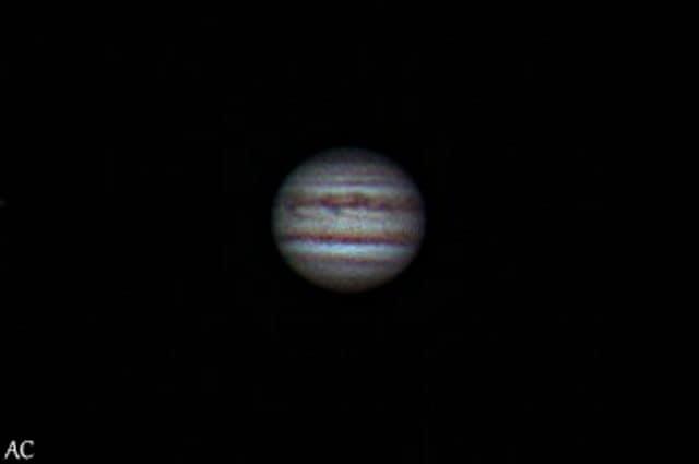 Un'immagine di Giove ottenuta con un piccolo telescopio. Credit: Andrea Centini