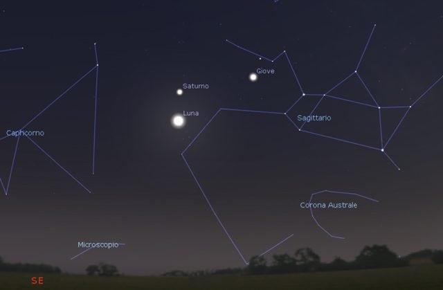 Il cielo serale del 29 agosto, intorno alle 20:30. Credito: Stellarium
