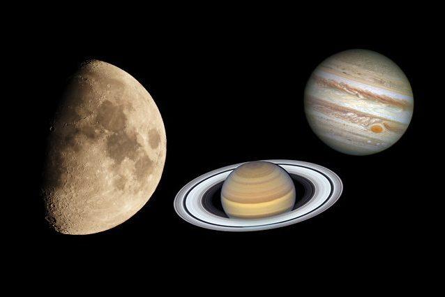 Da sinistra a destra, Luna, Saturno e Giove. Crediti: Luna / Andrea Centini - Saturno / Giove - NASA