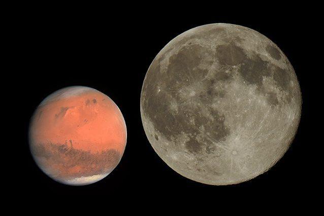 Marte e la Luna. Credit: Marte/NASA – Luna/Andrea Centini