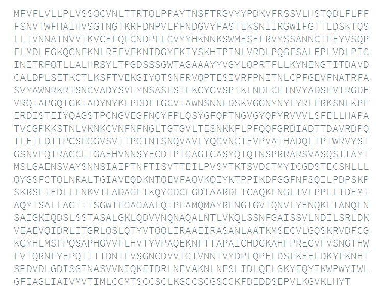 La sequenza amminoacidica della proteina Spike di Sars–Cov–2