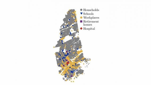 La mappa della città di New Rochelle nel modello matematico. Credit: Advanced Theory and Simulations/Università di New York