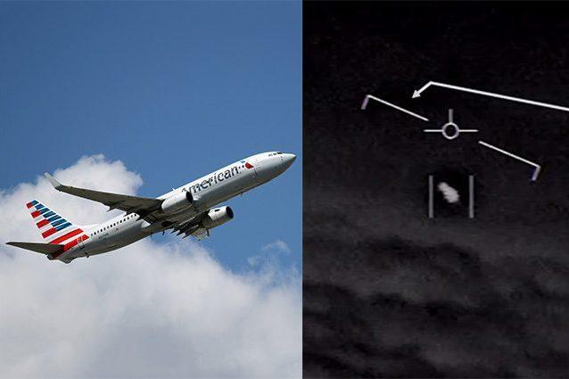 """A sinistra un aereo di linea della America Airlines, a destra un fotogramma del video """"Gimbal"""", che ritrae un UFO confermato dalla Marina militare statunitense"""