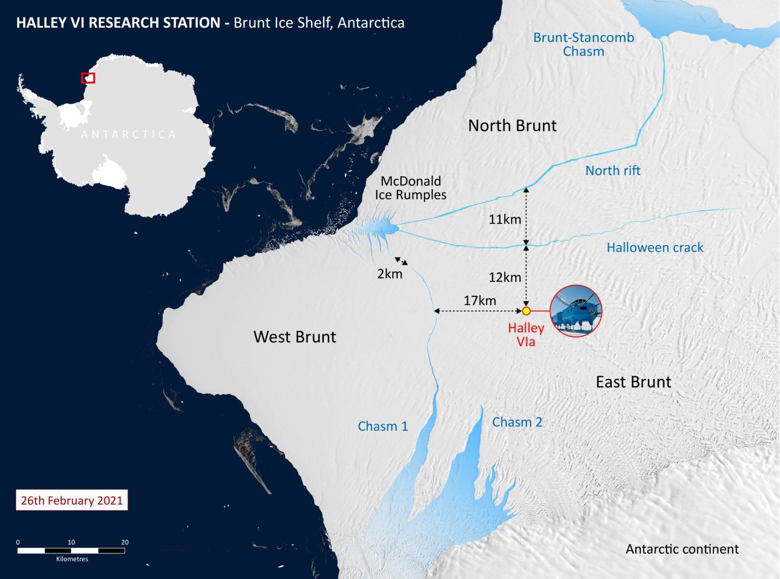 La piattaforma glaciale antartica Brunt e la posizione della stazione di ricerca Halley VI / BAS