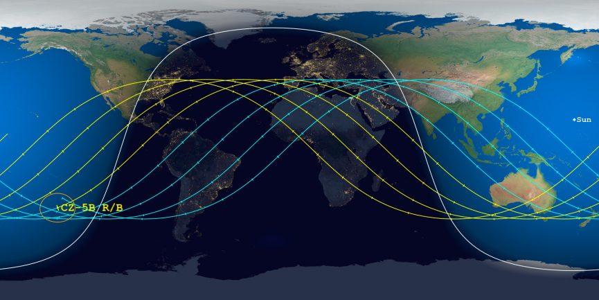 Le possibili traiettorie del razzo cinese