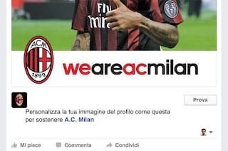 Facebook, i tifosi del Milan possono personalizzare l'immagine del profilo