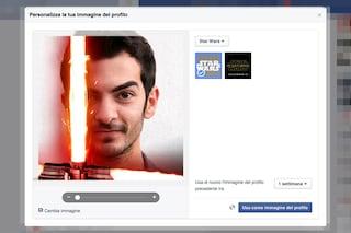 Facebook permette di personalizzare l'immagine del profilo con la spada laser di Star Wars