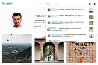Instagram Web introduce le notifiche