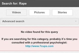 """Se cerchi la parola """"stupro"""", il portale pornografico ti rimanda al sostegno psicologico"""