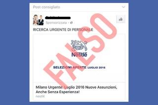 """Nestlé: """"Attenzione ai falsi annunci di lavoro su Facebook"""""""