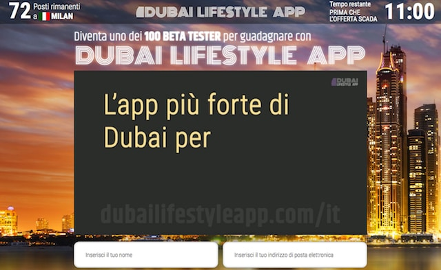 Screenshot dell'homepage di Dubai Lifestyle App