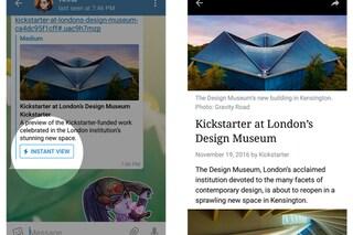 Telegram si aggiorna su iOS e Android: tra le novità Instant View e Telegraph