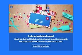 Facebook invita a condividere biglietti di auguri per le feste di Natale