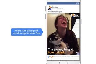Facebook attiverà l'audio dei video in automatico