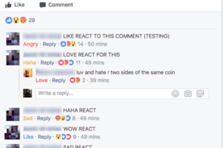 Ora su Facebook puoi usare le Reazioni anche nei commenti