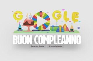 Ruota della fortuna per il compleanno di Google: il Doodle di oggi per i 19 anni di Big G