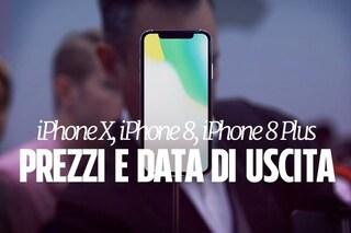 iPhone X, iPhone 8, iPhone 8 Plus: prezzi e data di uscita in Italia