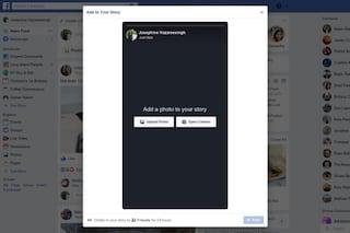 Facebook ci riprova con le storie: si potranno caricare da PC