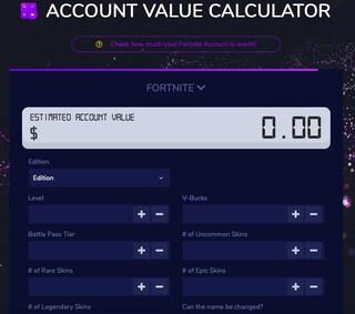 Questo sito stima il valore del tuo account Fortnite
