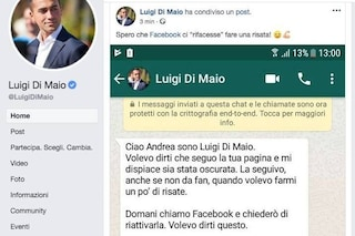 """Facebook, le pagine satiriche su Di Maio tornano online: """"Il ministro ha contattato il social"""""""