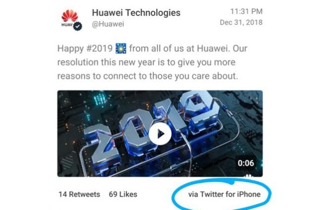 Huawei twitta gli auguri di buon anno da un iPhone: l'azienda punisce due dipendenti