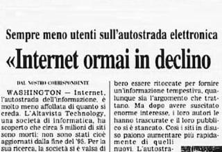Quando nel 1997 si credeva che internet fosse in declino (a causa del porno)