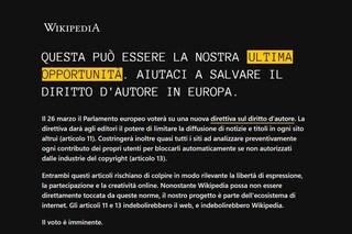 Wikipedia è bloccata in Italia contro la riforma del copyright europeo