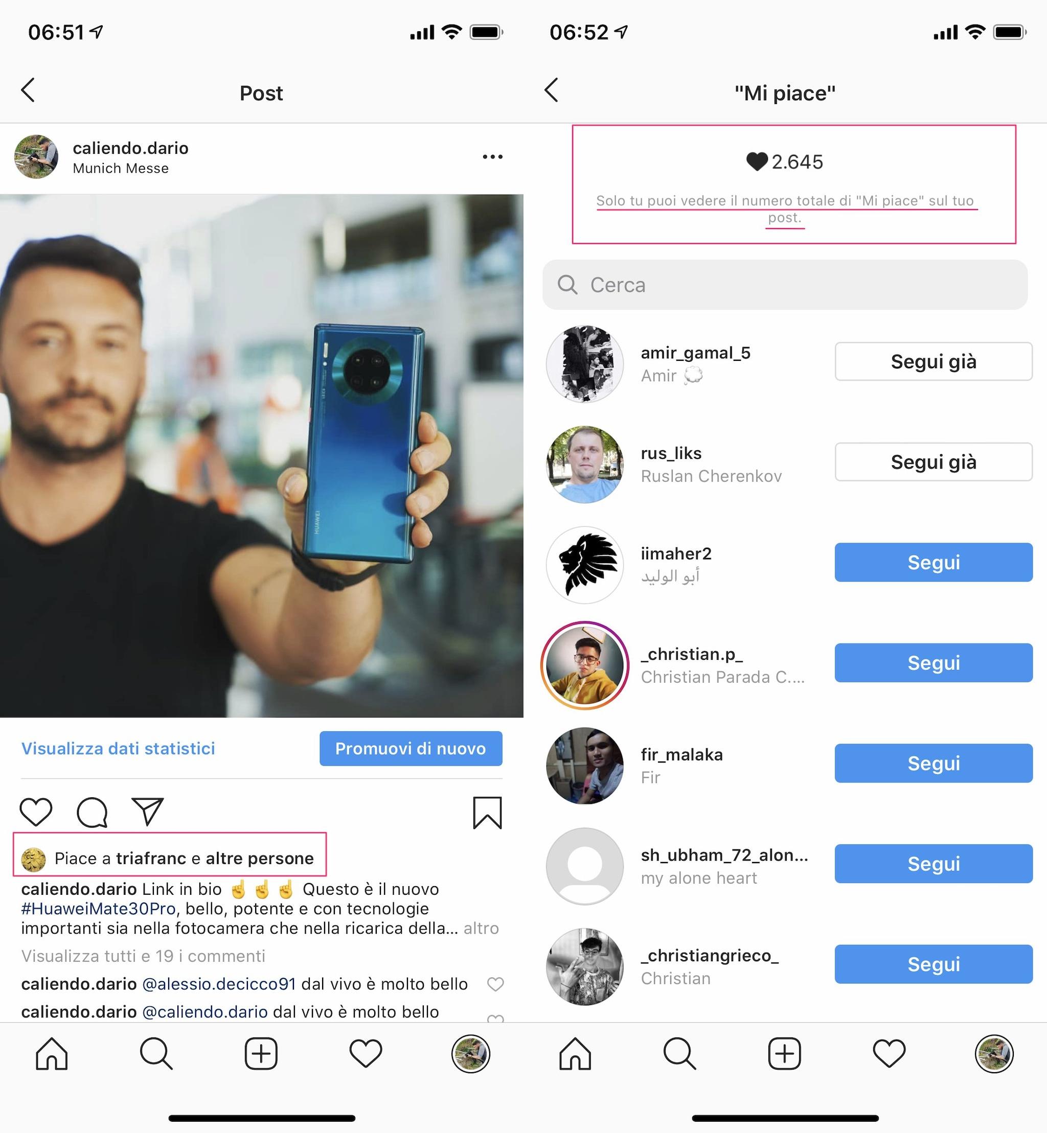 instagram nasconde mi piace italia