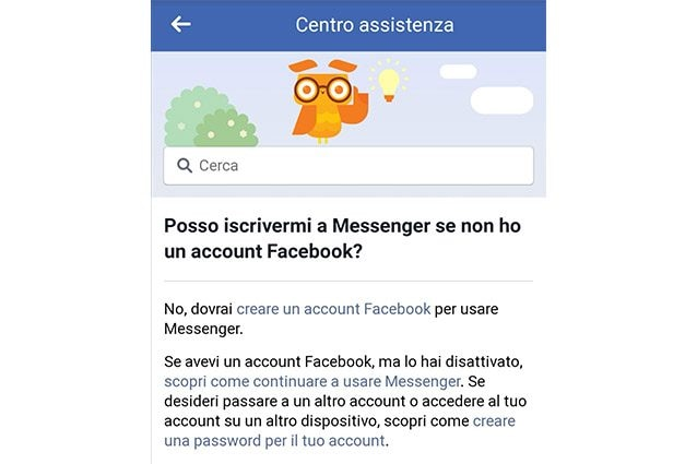 messenger assistenza