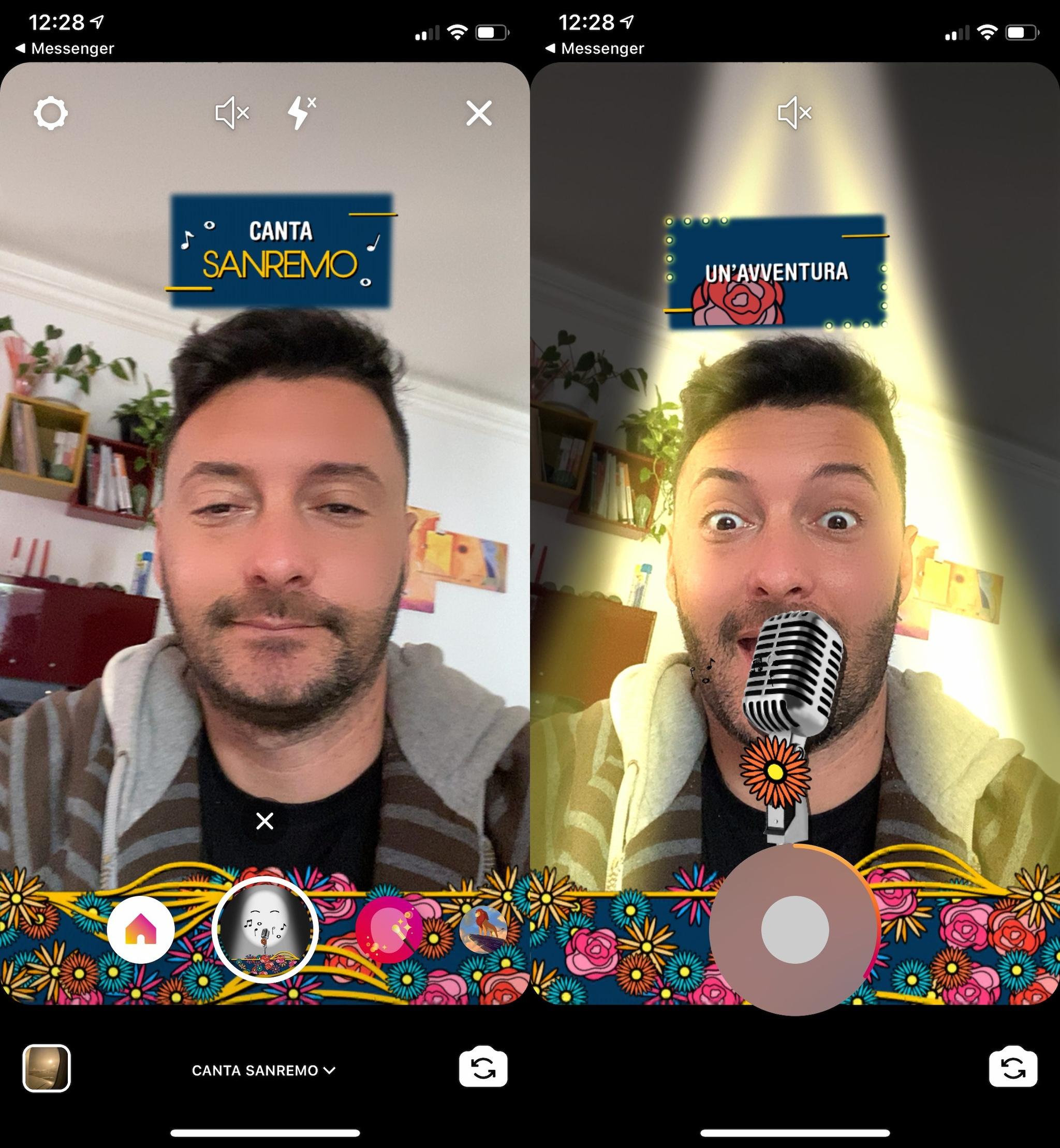 Canta Sanremo filtro instagram